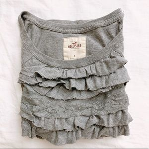 Hollister HCO gray ruffle short sleeve top size S